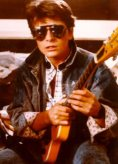 """Michael J. Fox from """"Back to the Future"""" with Mark Erlewine's """"Chiquita"""" guitar."""