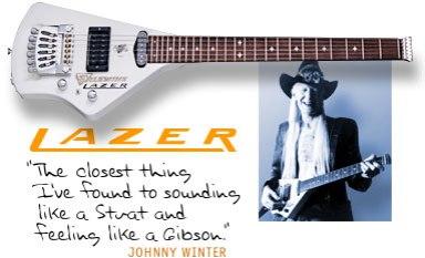"Mark Erlewine designed Johnny Winter's ""Lazer"" guitar."
